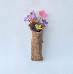 Wall Pocket Pottery Vase Mauve Peach Oblong Tube by midnightcoiler, $12.00