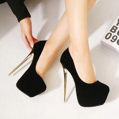 Black and golden heels