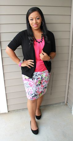 Pink top with black cardigan and floral pencil skirt, modest outfit idea