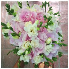 Bridal bouquet with pink hydrangea and white freesia - smells amazing!