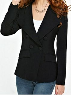 Fashionable Polo Neck Solid Color Full Sleeve Double Breasted Regular Clothing Length OL-Style Blazers on buytrends.com