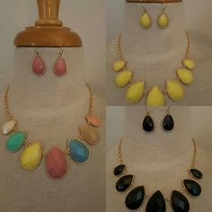 Spring colors necklace and earrings set .