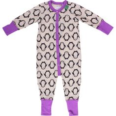 Fred's World organic wool bodysuit - PENGUINS / PURPLE