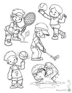 For kids, sports coloring pages, theme sport, art for kids, worksheet