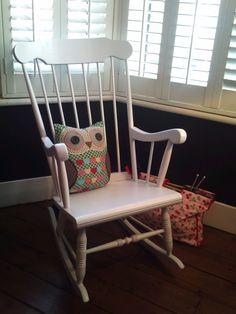 NOW SOLD - Fabulous traditional Wooden rocking chair - painted in a shabby chic light grey. £65