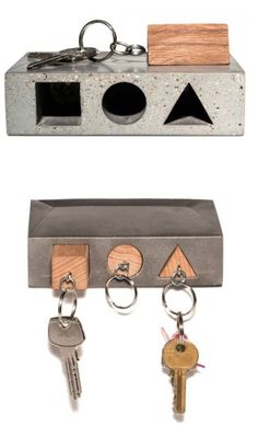 Haus Key Holder concrete and wood Concrete Cement, Concrete Furniture, Concrete Crafts, Concrete Projects, Concrete Design, Wood Design, Diy Furniture, Diy Projects, Furniture Plans