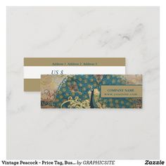 Vintage Peacock - Price Tag, Business Card E Cards, Vintage Tags, Nail Spa, Company Names, Hand Sanitizer, Smudging, Keep It Cleaner, Paper Texture, Peacock