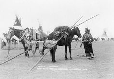 Kainai travois - Este sistema, junto con la introducción del caballo en los hábitos de los indios nativos nortemaricanos permitió la expansión y popularización de la vida nómada y el uso de los tipis como tipología de vivienda.