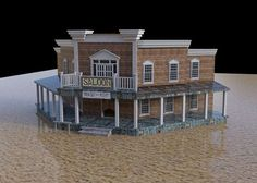 3D old west saloon scene for Poser and DAZ Studio