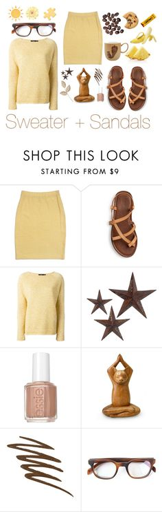 """Sweater & Sandals"" by tanabeya ❤ liked on Polyvore featuring St. John, Theory, jcp, Essie, NOVICA, Smashbox, Entourage of 7, Avenida Home, Sweater and sandals"