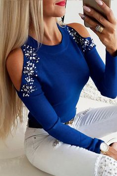 Trend Fashion, Estilo Fashion, Blue Fashion, Ideias Fashion, Fashion Design, Chic Type, Casual T Shirts, Casual Tops, Patchwork Material