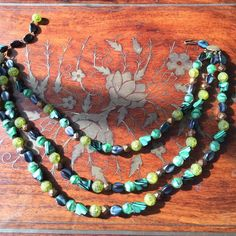 Reducedvintage Stone And Bead Necklace