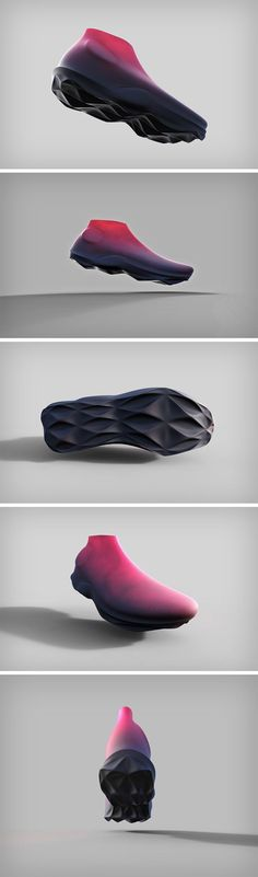 What started off as a form exercise for Dewayne Dale resulted in a piece of footwear that looks like no other. The 3D Surprise shoe was created as a result of conceptualizing directly in 3D CAD software, rather than sketching first and building later. The conceptual shoe features a unibody design with a subtle gradient from top to bottom, visually creating a separation between shoe and outsole, while there's no surface break between the two.