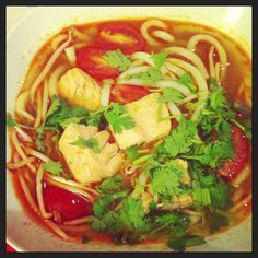 Sweet and sour fish soup with rice paddy herb
