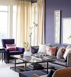 sarah-richardson-lottery home makeover....bold purple living room.....from her paint line with para paints: SR54 Amethyst