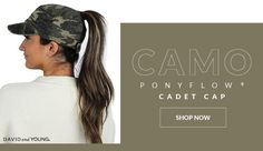 The Camo PonyFlo® Cadet by David & Young is casual hat perfect for every season! Crafted from 100% cotton, the lightweight and durable army cap is an easy to wear style. What makes this cap stand out from the others, is the velcro adjustable closure that features a wider opening made especially to keep your ponytail in tact. There is no need to adjust your ponytail because of your cap. Camo Hats, Ponytail, Army, David, Cap, Closure, Casual, How To Wear, Cotton