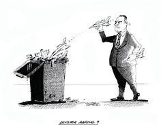 """OÖN-Karikatur vom 15. März 2017: """"Letzter Abflug?"""" Mehr Karikaturen auf: http://www.nachrichten.at/nachrichten/karikatur/ (Bild: Mayerhofer)"""
