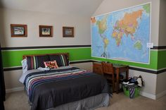 I decided it was time for my 4 year old to have his 'Big Boy Room'. When asked for his opinion, he requested green and black walls (his two...