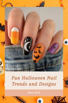 October 31 is the perfect excuse to get a hilarious-as-hell manicure to complete to your look. Top 6 Halloween Nail Trends and Designs now on the blog! Dark Gel Nails, Pointy Nails, Gel Nail Polish, Halloween Press On Nails, Halloween Nail Designs, Easy Halloween, Nail Art Stickers, Nail Decals, Duck Nails