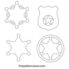 Badge Template, Star Template, Templates Printable Free, Printables, Police Officer Badge, Sheriff Badge, Police Shield, Wild West Crafts, Sheriff