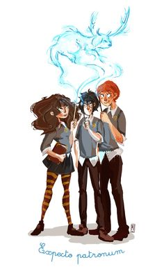 Harry Potter with Hermionne and Ron Fan Art
