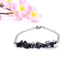 Your place to buy and sell all things handmade Handmade Jewelry Bracelets, Gemstone Jewelry, Silver Jewelry, Handmade Silver, Artisan Jewelry, Snowflake Obsidian, Wedding Jewelry, Steel Chain, Gemstones