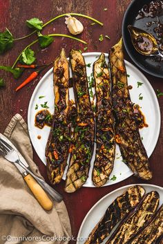 Grilled Eggplant with Xu Xiang Sauce (鱼香烤茄子) - The crispy eggplant is served with a pungent Szechuan style spicy garlic sauce.