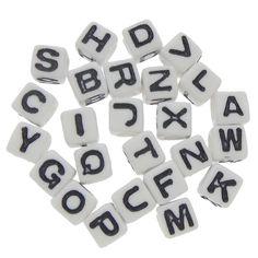 300 Buchstaben Perlen 7mm Loch 4mm weiß Würfel Beads Alphabet Buchstabenperlen | Buchstaben Perlen | Perlen |  günstig kaufen bei Bacabella.com | Perlen, Schmuck und Schmuckzubehör zum Schmuck selber machen | Schmuck basteln DIY DoItYourself | ganz individuell und einfach | Schmuckperlen