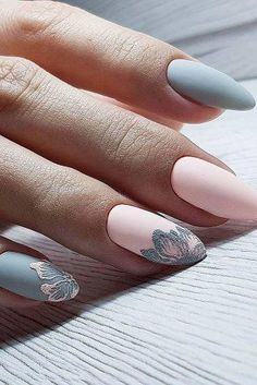 inch NAILS FRENCH grey and pink matte finish with contrasting florals. Now😚😚😚 Nails, nail art designs, nail designs, nail art, nail designs acrylic Spring Nail Art, Spring Nails, Gorgeous Nails, Pretty Nails, Hair And Nails, My Nails, Soft Nails, Light Nails, Diva Nails