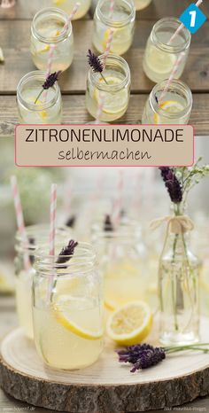 Zitronenlimo selbermachen – einfaches Rezept mit Bio-Zitronen und Mineralwasser … Make lemonade yourself – simple recipe with organic lemons and mineral water for a refreshing lemonade Flavored Lemonade, Lemonade Bar, Best Lemonade, Homemade Lemonade Recipes, Peach Lemonade, Refreshing Drinks, Summer Drinks, Cocktail Recipes, Cocktail Drinks