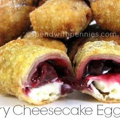 Cherry Cheesecake Egg Rolls Recipe - ZipList  I used strawberry pie filling.  They were super easy and super yummy!!!  I made mine in advance and put them in the freezer then dropped them in the deep fat fryer.  They cook very quickly that way.  I did cook some defrosted ones that cooked even faster!  I see these as something that could be made in bulk and pulled out a few at a time when needed.