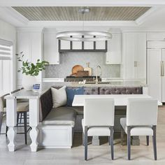 Round Kitchen Island with Folding Stools Transitional Kitchen Kitchen And Bath Showroom, Kitchen And Bath Design, Home Decor Kitchen, Luxury Kitchens, Home Kitchens, Round Kitchen Island, French Bistro Chairs, Cost Of Granite Countertops, Decoration Bedroom