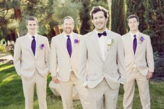 Groom and Groomsmen with Gray Suit Purple Tie Cruise to Bermuda Wedding Tan Tuxedo Wedding, Plum Wedding, Wedding Suits, Wedding Attire, Wedding Ideas, Dream Wedding, Wedding Groom, Wedding Stuff, Wedding 2017