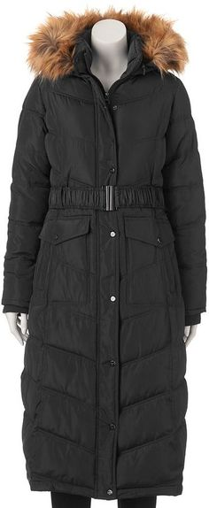 Juniors' Madden Girl Faux-Fur Hooded Maxi Puffer Jacket