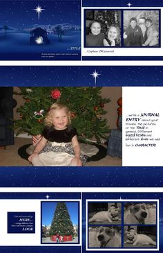 """The digital scrapbook layout, """"O Holy Night"""", serves as a reminder of why we celebrate Christmas. This digital scrapbook layout is simple and understated but the North Star speaks volumes! Make this the peaceful surrounding of your family's memories!"""