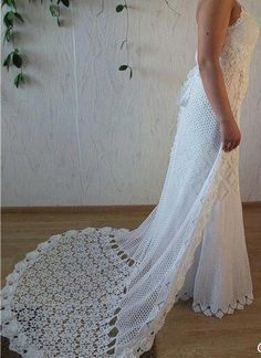 lovely crocheted wedding dress