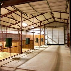 Horse pens horse stalls horse barn I love the large gates so you could get a small tractor in there to scrape them out