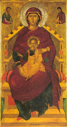 Kyriotissa icon aka Mother of God Enthroned icon - By Andreas Ritzos, Patmos Monastery, Greece, half cc Byzantine Icons, Byzantine Art, Greek Icons, Russian Icons, Les Religions, Blessed Mother Mary, Sacred Symbols, Madonna And Child, Virgin Mary
