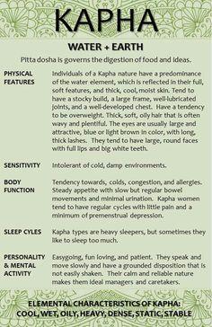 Kapha Dosha characteristics..