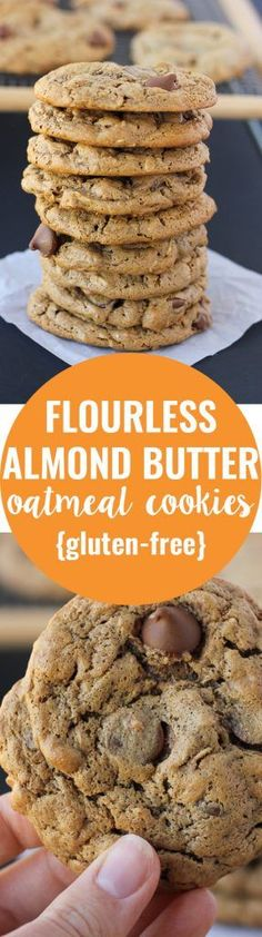 Gluten-free and made with pantry…Flourless Almond Butter Oatmeal Cookies! Gluten-free and made with pantry… Dessert Sans Gluten, Low Carb Dessert, Gluten Free Sweets, Paleo Dessert, Gluten Free Baking, Dairy Free Recipes, Vegan Desserts, Just Desserts, Dessert Recipes