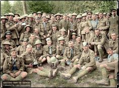 The Battle of the Somme (July-November 1916)  A Group of Royal Fusiliers near Aveluy Wood after the capture of Thiepval on 26 September 1916. Aveluy, Somme, France.  Some wearing captured German headwear (including one numbered '180') and captured weaponry.  Brooks, Ernest (Lieutenant) (Photographer) (Photo source - © IWM Q 1398)  (Colourised by Leo Courvoisier) https://www.facebook.com/pages/Greetings-from-the-trenches/830845900362286?fref=nf