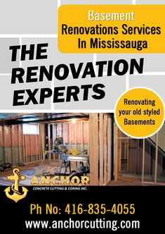 Contact AnchorCutting - well known name in basement renovation services in Brampton, Mississauga, Milton and Oakville. Transformation Project, Basement Renovations, Perfect Place, Anchor, Concrete, Living Spaces, Website, Type, Projects