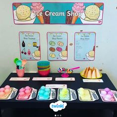 Use this icecream role-play as a way to teach your children about shopping! Ice Cream Parlour Role Play, Play Ice Cream, Ice Cream Theme, Nursery Activities, Playdough Activities, Preschool Themes, Preschool Activities, Role Play Shop, Role Play Areas