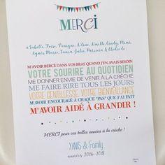 Image of Affiche Merci à la crèche Explosion Box, Diy Cards, Easy Diy, Dyi, Best Quotes, Bullet Journal, School, Format A3, Crafts