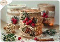 Christmas Burlap Candles