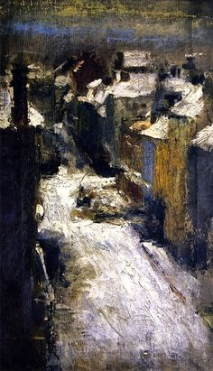 Rue de Flandre in the Snow, James Ensor was a Belgian painter and printmaker, an important influence on expressionism and surrealism who lived in Ostend for almost his entire life. He was associated with the artistic group Les XX. Painting Snow, Painting & Drawing, Gustav Klimt, Cityscape Art, Arte Pop, Urban Landscape, Moma, Illustrations, Art World
