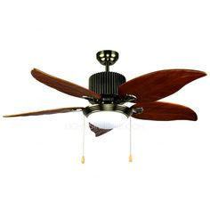 5-Blade And 1-Light Vintage Ceiling Fans With Lights For Bedroom