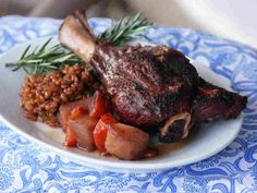 Lamb Shanks With Wheat Berries And Parsnips