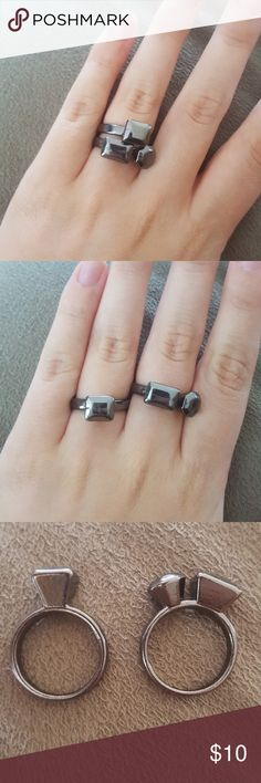 Set of two gun metal rings! Great condition, can be worn together or separate. They're an 8ish 9. I'm usually a nine and they fit me fine, depending on how swollen my figures are. Jewelry Rings
