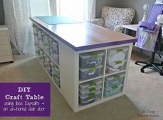 "DIY Craft Table,,""Craft table made of Ikea Expedits, an un-bored slab door, and Sterilite clip boxes. Lots of storage and room to work."""
